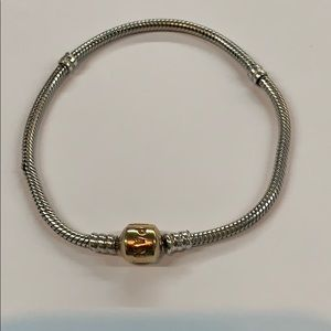 "Pandora 14k yellow gold clasp 8""charm bracelet"